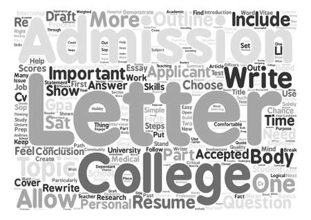 The Importance of a College Admissions Letter text background word cloud concept Illustration