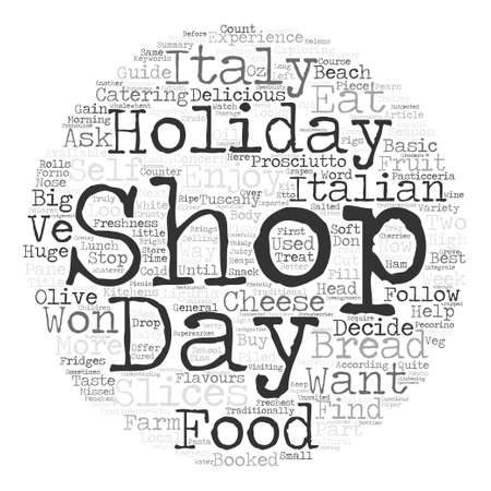 booked: How To Shop For Food On Holiday In Italy Word Cloud Concept Text Background