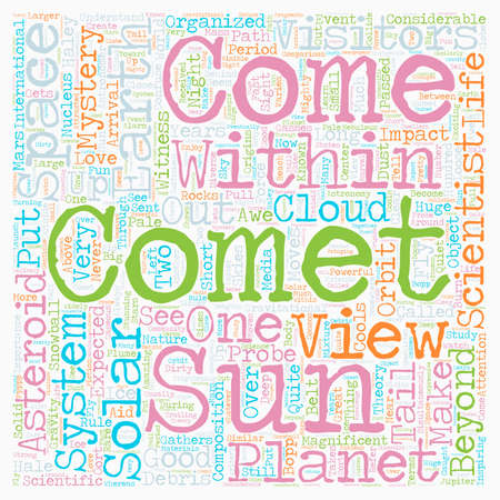 Comets Visitors From Beyond text background wordcloud concept