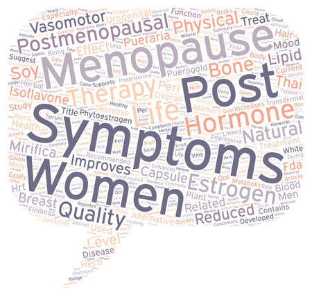 hormone: Hormone Therapy Reduced Physical Post Menopausal Symptoms text background wordcloud concept