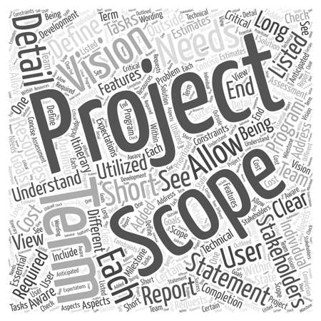 Defining a project scope Word Cloud Concept Illustration