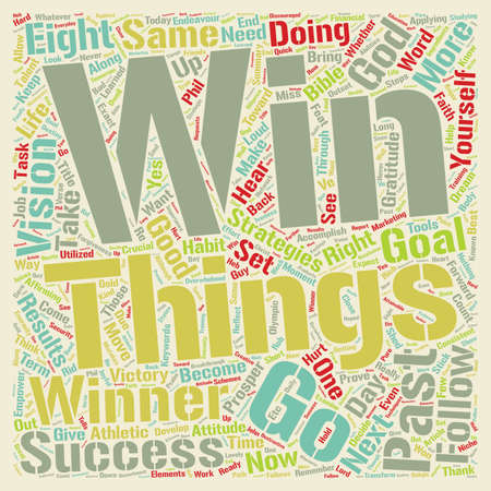 Eight Strategies to Become a Winner text background wordcloud concept