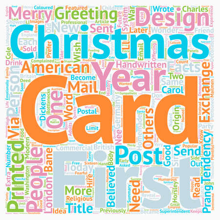 Christmas Cards Facts text background wordcloud concept Illustration