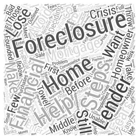 homeowners: Homeowners Steps to Help You Avoid Foreclosure Word Cloud Concept Illustration