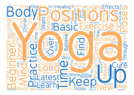 Yoga Positions for Beginners text background word cloud concept