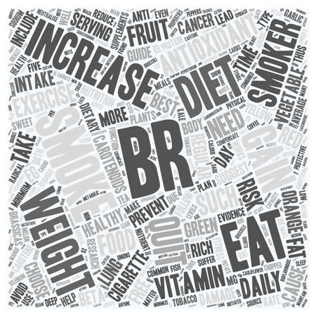 ex: DIET FOR SMOKERS AND EX SMOKERS text background wordcloud concept Illustration