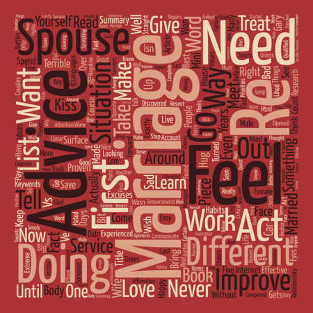 Straight forward Advice on Marriage that WORKS text background word cloud concept