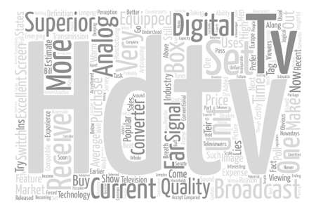 Hdtv receiver text background word cloud concept