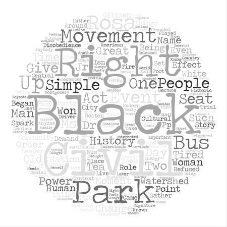 Rosa Parks text background word cloud concept
