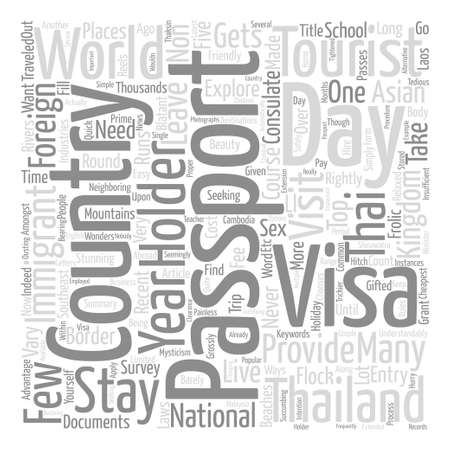 Live And Stay In Thailand With A Passport Holder Word Cloud Concept Text Background