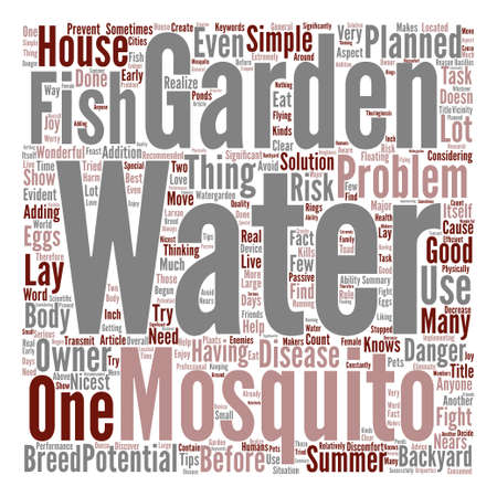 anyone: Water Garden Mosquitoes Problems Word Cloud Concept Text Background Illustration