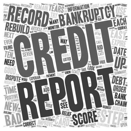 Easy Steps to Rebuild Your Credit after Bankruptcy text background wordcloud concept Ilustração