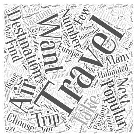 short trip: Destinations Popular For Air Travelers Word Cloud Concept