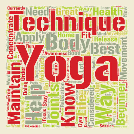 Yoga For Beginners Yoga techniques on the loose Word Cloud Concept Text Background