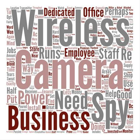 financially: Wireless Spy Camera There When Good Help Is Hard To Find text background word cloud concept