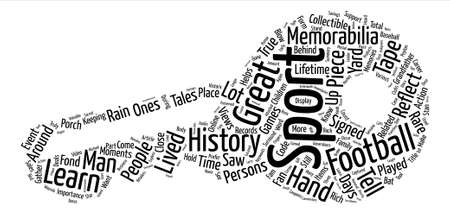 Sports Memorabilia History text background word cloud concept Illustration