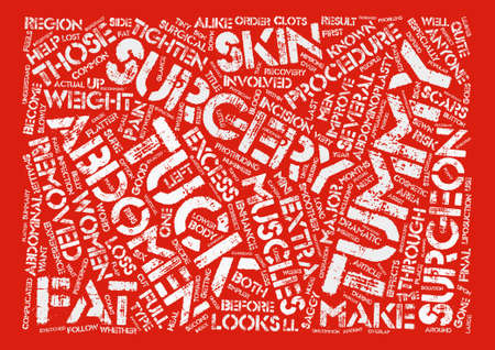 Tummy Tuck Surgery At A Glance Word Cloud Concept Text Background