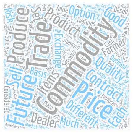 Commodities An Overview text background wordcloud concept Ilustrace