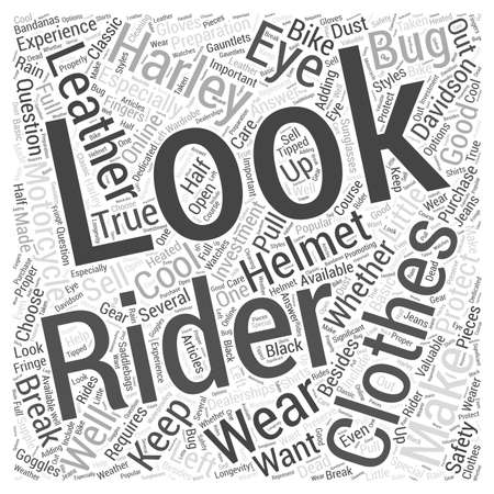 Clothes Make The Rider Word Cloud Concept Illustration