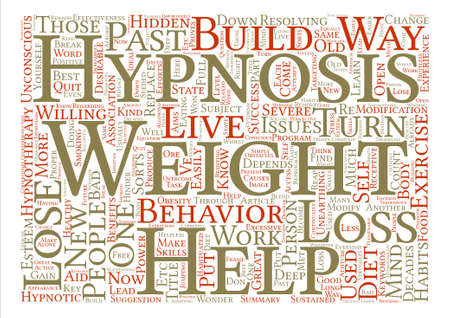 resolving: How Hypnosis Can Help On Weight Loss Word Cloud Concept Text Background Illustration