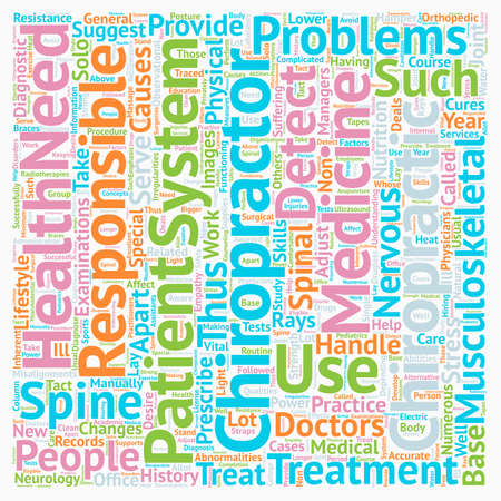 Chiropractors text background wordcloud concept