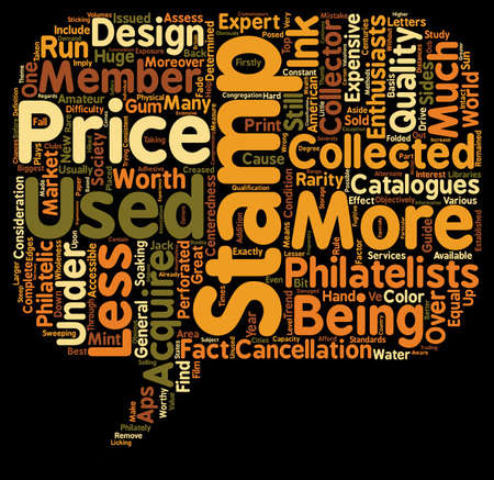 philatelic: collector stamp prices text background wordcloud concept