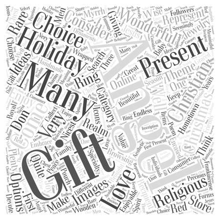specialty store: Christian christmas gift Word Cloud Concept Illustration