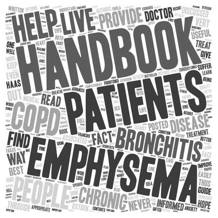 chronic bronchitis: Chronic bronchitis and emphysema handbook text background wordcloud concept