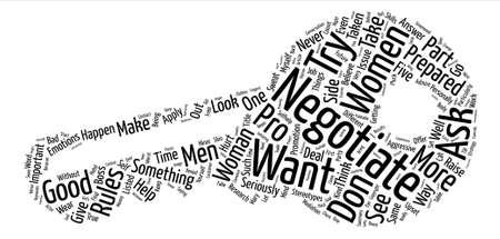 Wie Frauen wie Pro-Texthintergrundwort-Wolkenkonzept verhandeln können Vektorgrafik