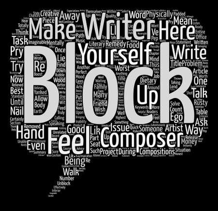 Deblokkeer het Blok in het concept van de het achtergrondwoordwolk van de Schrijverstekst Vector Illustratie