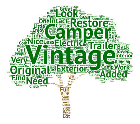 popularity: Vintage Camper text background word cloud concept