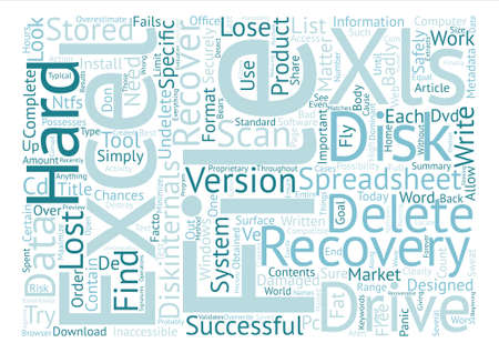 Recover Deleted Excel Spreadsheets Word Cloud Concept Text Background