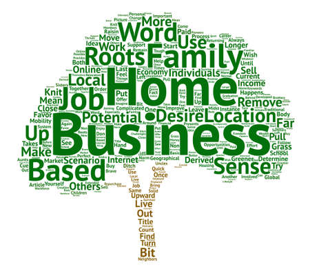 Home based Business And The Roots Of My Raisin text background word cloud concept