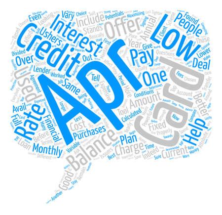 Baja tarjeta de crédito apr Palabra Nube Concepto de fondo de texto