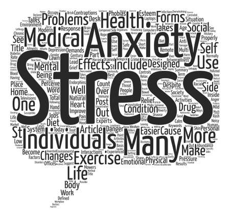 despite: Stress and Anxiety in Post Modern Society Word Cloud Concept Text Background Illustration