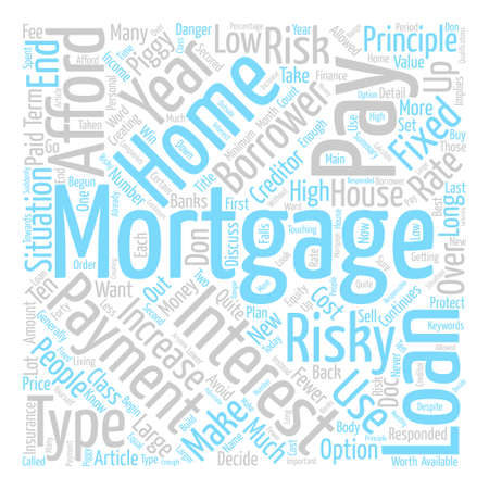 Types of High Risk Mortgage Word Cloud Concept Text Background Illustration