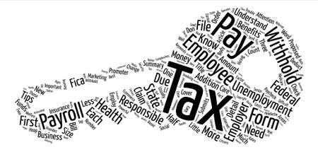 Employees taxes text background word cloud concept
