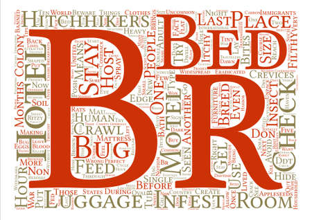 br: Hotel bed bugs text background word cloud concept