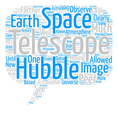 farther: Hubble Telescope text background word cloud concept