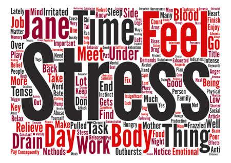 和らげる Stess をメソッド本文背景単語雲概念  イラスト・ベクター素材