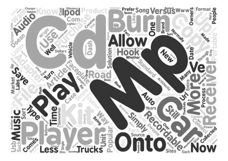 MPs on the Road Ways to Play your MPs in your Car text background word cloud concept