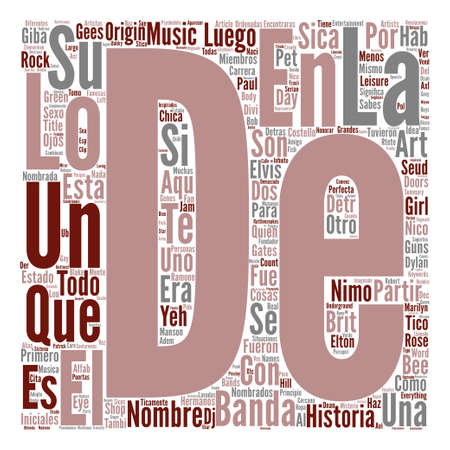 Los Nombres Detras de Las Bandas de Musica Word Cloud Concept Text Background