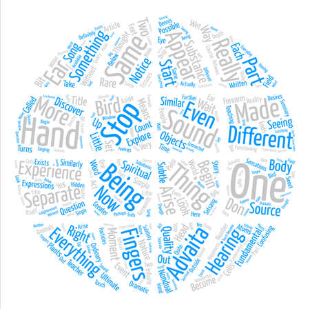 What Is Advaita Or Oneness text background word cloud concept