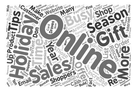 Holiday Sales Tips How To Cash In On The Season text background word cloud concept Ilustração