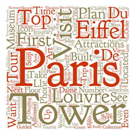 トップ観光アトラクションでパリ本文背景単語雲概念