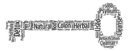 colon cleansing: Psyllium For Detox Word Cloud Concept Text Background Illustration