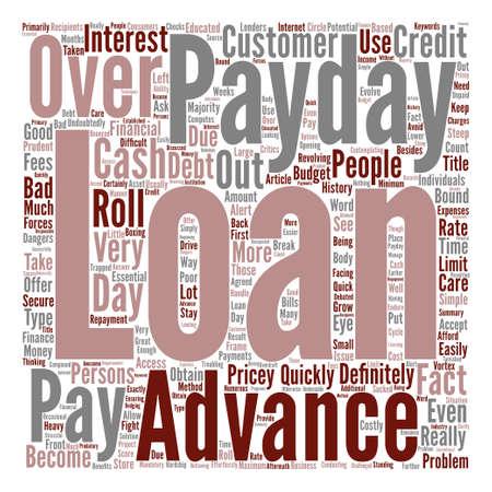 Betaal Day Advance Loans Wees voorzichtig met die dure Roll Overs Word Cloud Concept Tekst Achtergrond
