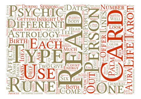 psychic: Types Of Psychic Readings text background word cloud concept