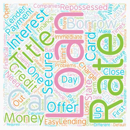 car: Car Title Loan text background wordcloud concept