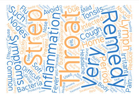 Effective Home Remedies for Strep Throat text background word cloud concept